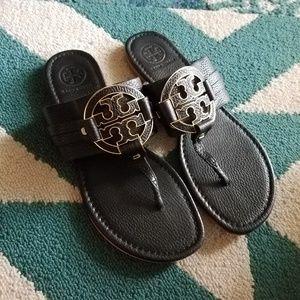 {Tory Burch} Amanda Black Leather Sandals
